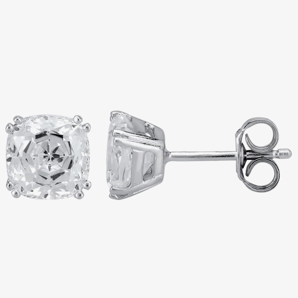 Starbright Silver 6.5mm Cushion-Cut Cubic Zirconia Stud Earrings E3858(6.5X6.5M) 3A from Starbright