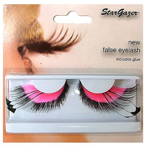 Halloween Stargazer Reusable False Eyelashes - Pink & Black Feather #53 from Stargazer