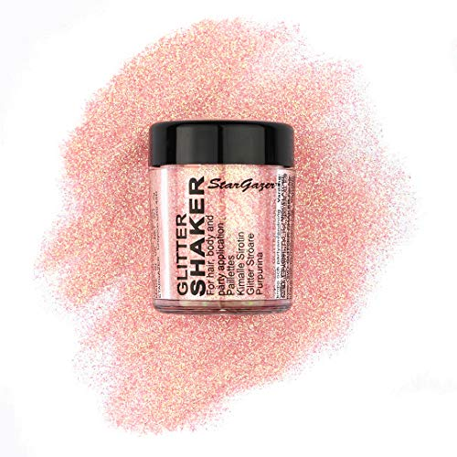 Stargazer Pastel Glitter Shaker, Apricot. Cosmetic glitter powder for use on the eyes, lips, face, body, hair and nails. from Stargazer