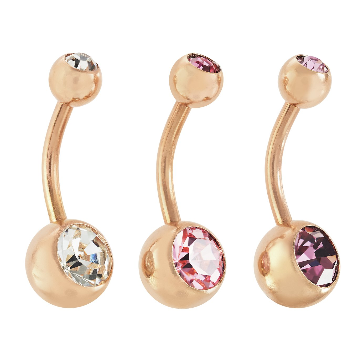 a413f5270 State of Mine 9ct Rose Gold Plated Set of 3 Belly Bars from State of Mine