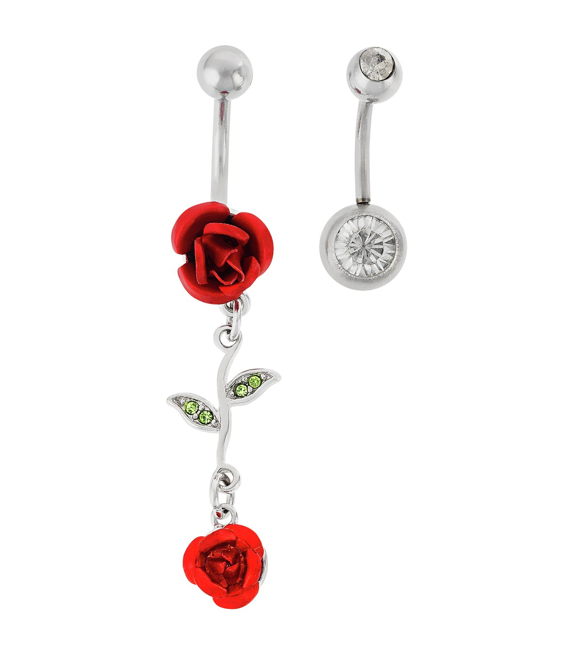 263e13a0f State of Mine Steel Rose Crystal Belly Bars - Set of 2 from State of Mine