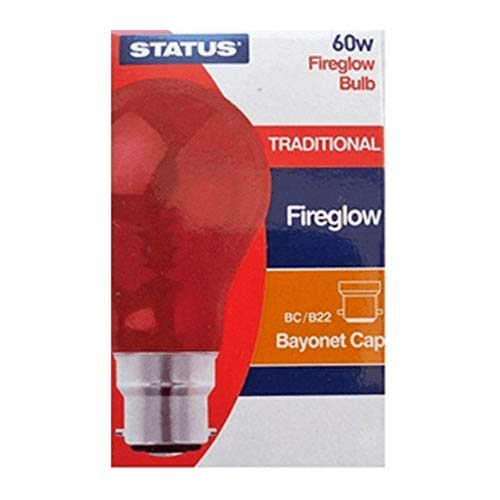 6 x STATUS FIREGLOW Effect 60W Clear Classic BC B22 Light Bulbs, Bayonet Cap, Red Glow GLS Incandescent Lamps, Brooder/Incubator/ Flame Effect Electric Fires/ Decorations, 180 Lumen, Mains 240V from Status