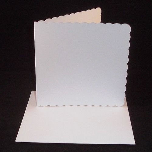 "10 x 7""x7"" White Scalloped Card Blanks With White Envelopes from Stella Crafts"