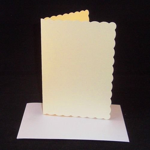 10 x A4 Cream Scalloped Card Blanks With White Envelopes from Stella Crafts