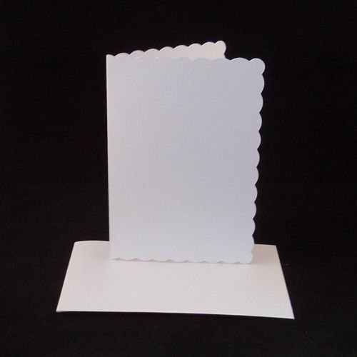 10 x A4 White Scalloped Card Blanks With White Envelopes from Stella Crafts