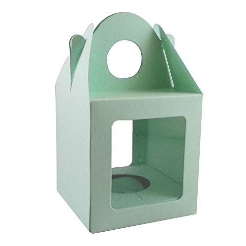 10 x Medium Light Green Single Cupcake / Muffin / Fairy Cake Boxes With 2 Windows from Stella Crafts