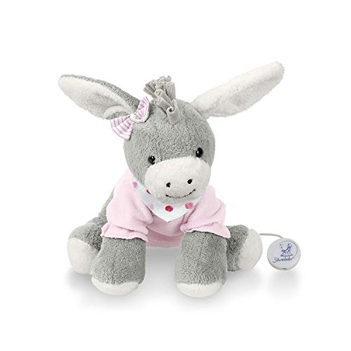 Sterntaler Musical Toy, Plush Donkey Emmi, Interchangeable Music Box, Size: M, Grey/Pink from Sterntaler