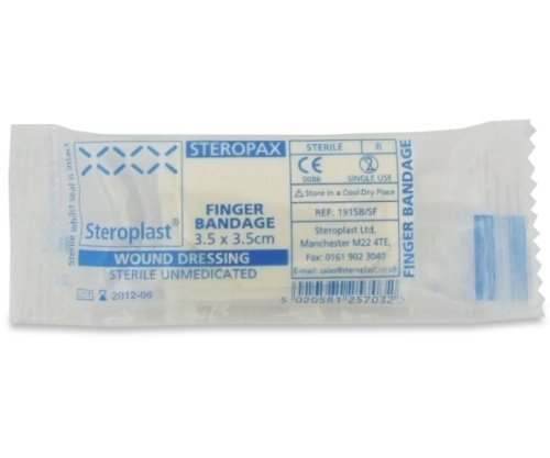 12 x Sterile Finger Wound Dressing / Bandage 3.5 x 3.5cm - Steroplast from Steroplast
