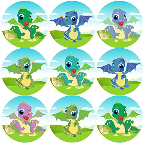 144 Baby Dragons 30 mm Reward Stickers for School Teachers, Parents, Nursery from Sticker Stocker