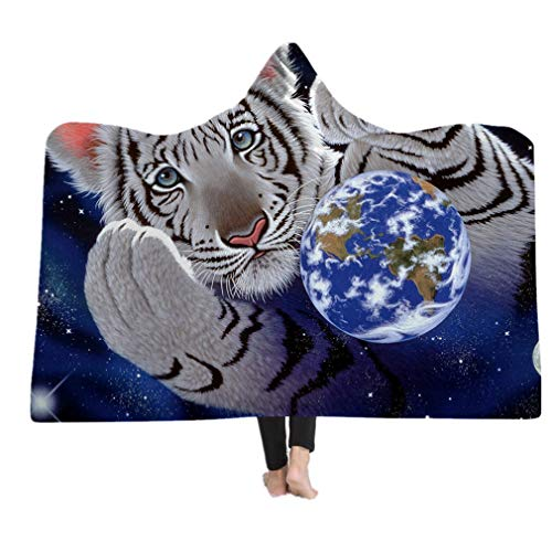 "Kids Hooded Blanket Adults Soft Plush Cloak Cape Portable Warm Throw Blanket Suitbale for Watch TV Reading Playing Studing on Bed or Sofa (White Tiger, 60""x80"") from Sticker Superb"