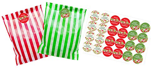 Striped paper party bags, pack of 24 with 30 mm 'Merry Christmas' Stickers, bags available in Green or Red (Green and white striped bags) from StickerZone