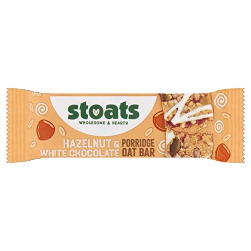 Stoats White Chocolate and Hazelnut Porridge Oat Bars 50 g (Pack of 18) from Stoats