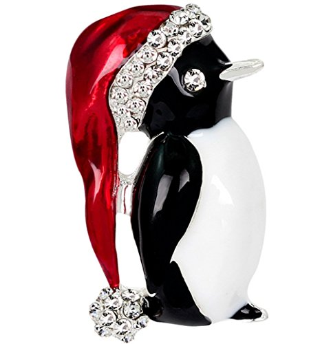 Stockton Fashion Personality Christmas Penguin Women's Brooch Rhinestone Covered Scarves Shawl Clip For Women Ladies(Silver) from Stockton