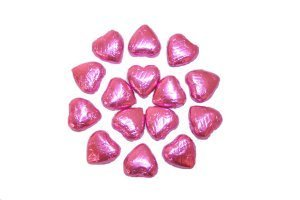 Pink Foil Covered Chocolate Hearts x 50 from Storz