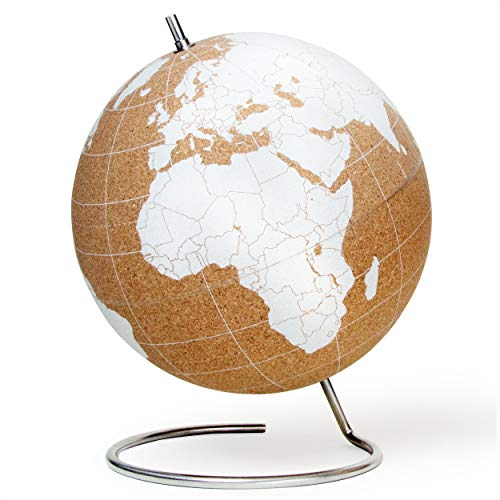 SUCK UK Large White Desktop Cork Globe | Push PINS Included | Educational World MAP | Travel Accessories | Adventure & Memories Display from SUCK UK