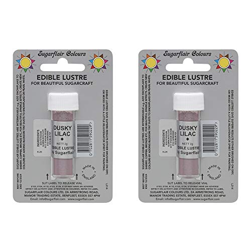 2 x SugarFlair Edible Dusky Lilac Lustre Powder Food Colour Icing Cake Decor from Sugarflair