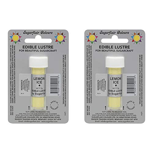 2 x SugarFlair Edible Lemon Ice Lustre Powder Food Colour Icing Cake Decoration from Sugarflair