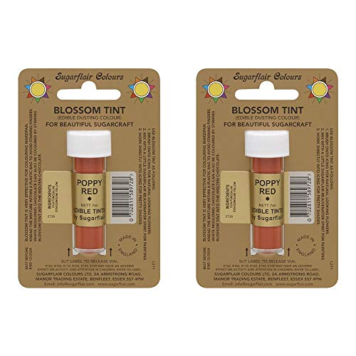 2 x Sugarflair Poppy Red Edible Blossom Tints Food Colour Colouring Dust Powder from Sugarflair