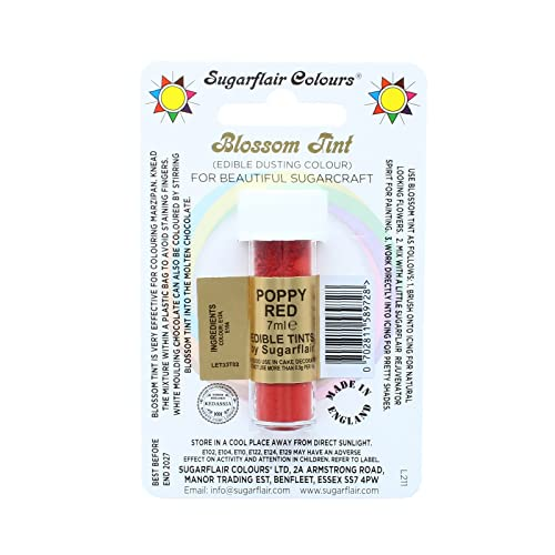 Sugarflair Blossom Tint Edible Dust Food Colouring Sugarcraft Powder Colour – 7ml – Poppy Red from Sugarflair