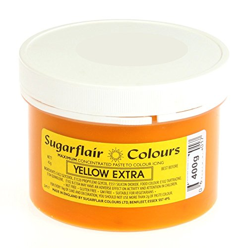 Sugarflair Spectral Concentrated Paste Food Colouring - YELLOW EXTRA -400g Bulk Pack from Sugarflair