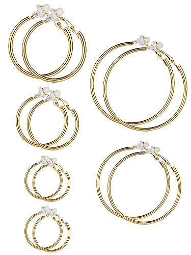 6 Pairs Earrings Clip On Earrings Non Piercing Earrings Set for Women and Girls, 6 Sizes (Gold Color) from Sumind