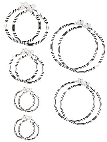 6 Pairs Hoop Earrings Clip On Earrings Non Piercing Earrings Set for Women and Girls, 6 Sizes (Silver) from Sumind