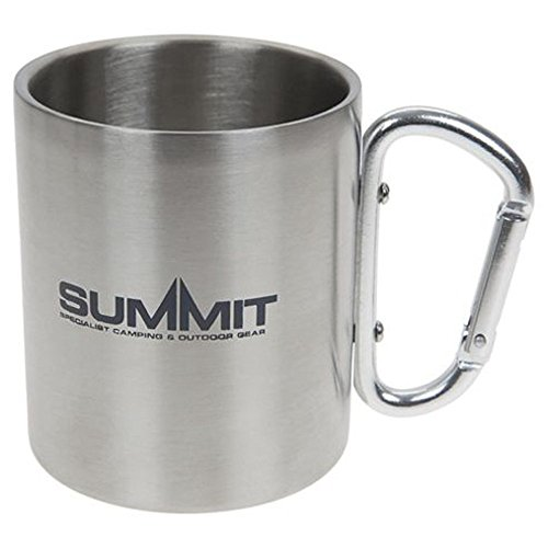 Summit 300ml Stainless Steel Mug - Double Wall Carabineer Handled - Camping Hiking from Summit