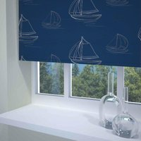 Boats Ready Made Daylight Roller Blind Navy from Sunflex