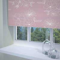 Floral Cluster Ready Made Blackout Roller Blind Pink from Sunflex