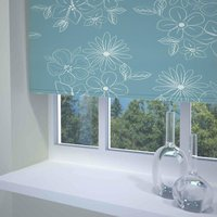 Floral Cluster Ready Made Blackout Roller Blind Teal from Sunflex