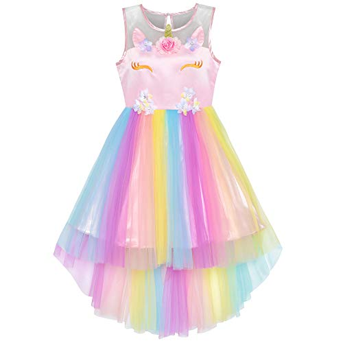 Flower Girls Dress Unicorn Rainbow Princess Party Age 4 Years from Sunny Fashion