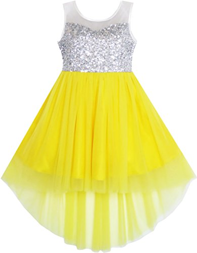 JD21 Girls Dress Sequin Mesh Party Princess Tulle Shiny Glitter Age 7 Years from Sunny Fashion