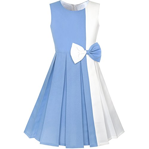 Sunny Fashion KY94 Girls Dress Color Block Contrast Bow Tie Party Age 7 Years Sky Blue from Sunny Fashion