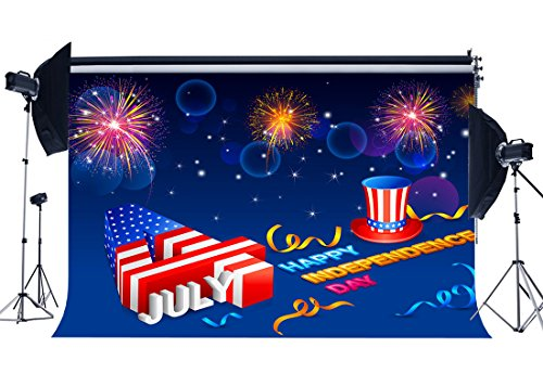 Haosphoto Vinyl 10X8FT Independence Day Backdrop 4th July American Flag Backdrops Statue of Liberty Bokeh Fireworks Stars and Stripes Labor Day Photography Background for Photo Studio Prop YX495 from Haosphoto