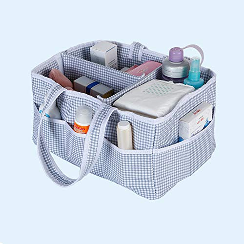 Sunzit Diaper Organiser, Diaper Caddy Organizer with Cover Nappy Changing Storage Bag Basket for Mom Newborn Kids Nappies Toys Car Travel (B) from Sunzit