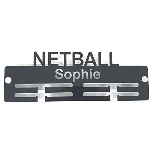"Super Cool Creation Personalised""Netball"" Medal Hanger - Black from Super Cool Creation"