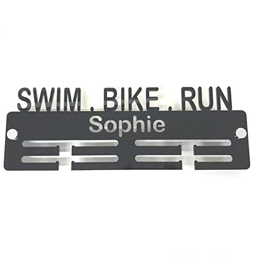 "Super Cool Creation Personalised""Swim, Bike, Run"" Medal Hanger - Pink from Super Cool Creation"