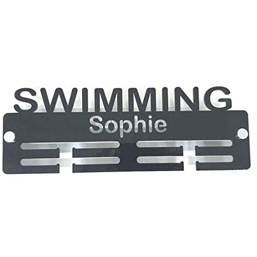 "Super Cool Creation Personalised""Swimmimg"" Medal Hanger - Red from Super Cool Creation"