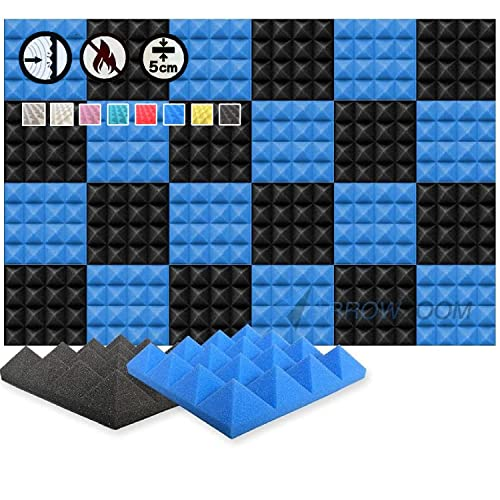 Arrowzoom Super Dash 24 Pack of 25 X 25 X 5 cm Blue and Black Pyramid Acoustic Home Studio Soundproof Treatment Accessories Foam Wall Panel Tiles SD1034 from Arrowzoom