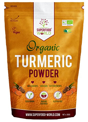 Organic Turmeric Powder | Pure and Potent Anti Inflammatory and Antioxidant Turmeric Powder Superfood with Natural Curcumin | Perfect for Cooking, Smoothies & Golden Milk | Vegan Friendly 300g from Superfood World