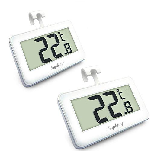 Suplong 2 Sets Fridge Thermometer Digital Refrigerator Thermometer, Digital Waterproof Fridge Freezer Thermometer With Easy to Read LCD Display (White-2) from Suplong