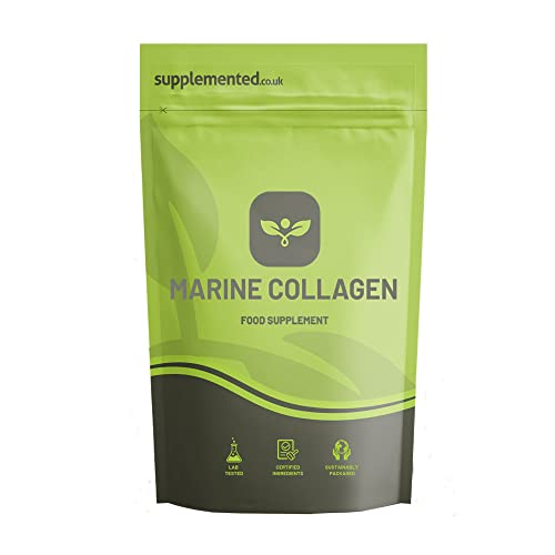 Marine Collagen 90 Capsules 400mg UK Made Supplement Letterbox Friendly from Supplemented