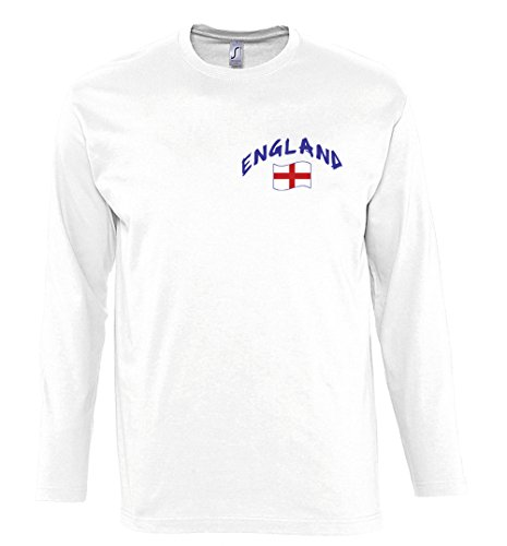 Supportershop Men's England Long Sleeve T-Shirt, White, 2X-Large from Supportershop