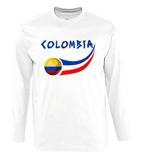 Supportershop Men's Colombia Long Sleeve T-Shirt, White, X-Large from Supportershop