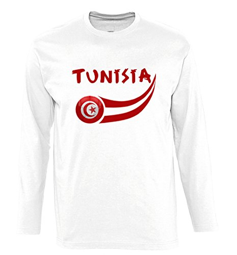 Supportershop Men's Tunisia Long Sleeves T-Shirt, White, Small from Supportershop
