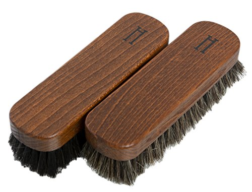 Horse Hair Brushes for Buffing and Polishing -Double Pack in Natural and Black from Supreme Shoe Care