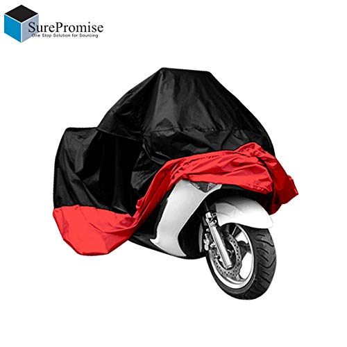 XL/XXL/XXXL Motorcycle Waterproof Outdoor Motorbike Water Resistant Dust proof UV Protective Breathable Cover Outdoor Protector Sliver/Blue/Red/Green/Black + Carry Bag UK Stock (XXL Black/Red) from Surepromise