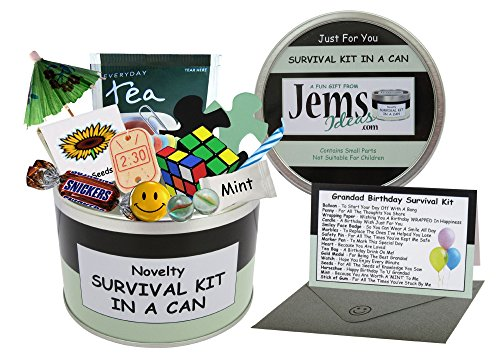 Grandad Birthday Survival Kit In A Can. Novelty Fun Gift - Humorous Granddad Present & Card All In One. Customise Your Can Colour. (Black/Mint) from Survival Kit In A Can