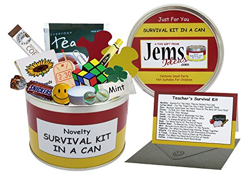 Teacher Survival Kit In A Can. Humorous Novelty Fun Gift - Thank You/Thankyou/Birthday/Christmas/End of Year/Term/School/Teaching Assistant Present & Card All In One. Customise Your Can Colour. (Red/Yellow) from Survival Kit In A Can