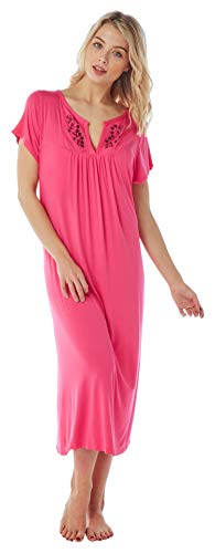 3268d8d59f Women s Plus Size Short Sleeved Embroidered Jersey Nightdresses in 6  Colours (14-16